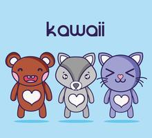 Kawaii schattige dieren gezichten expressie vector