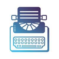 apparatuur van de silhouet retro schrijfmachine met bedrijfsdocument vector