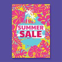 Zomer verkoop illustratie met strand en tropische bladeren achtergrond