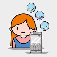 meisje met emoticonsymbolen van whatsapp app vector