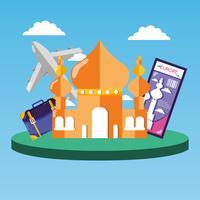 Taj Mahal met foto en tas reizen vector