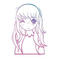 lijn schoonheid anime meisje met kapsel en blouse vector