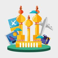 Moskou toren met foto en vliegtuig reizen vector
