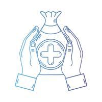 lijn handen met zak dotatie met hart en kruis symbool