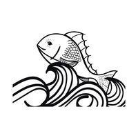 lijn vis dier in de zee met golven ontwerp vector