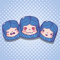 emoticon meisjes gezichten met karakter bericht