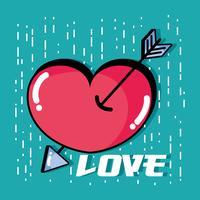 hart met pijl naar romantisch symboolontwerp vector