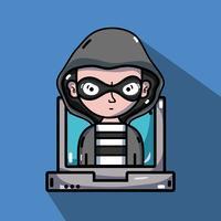persoon-hacker om het programmeervirus in het systeem te programmeren vector