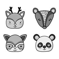 set schattige dieren patches ontwerp vector