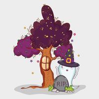 Leuke ghost halloween cartoon vector