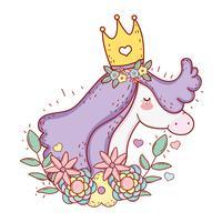eenhoorn draagt kroon met bloemen en verlaat planten