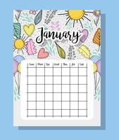 januari kalenderinformatie met bloemen en bladeren vector