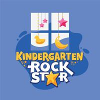 Kleuterschool Rock Star Phrase, Window with Duck and Stars Background, Back to School Illustration