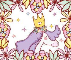 schattige eenhoorn draagt kroon met bloemen en bladeren