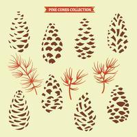 Dennenappels Collectie van kerstboom takken met denneappels en Maretak vector