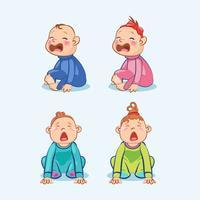 Zittend en huilend jongetje en baby meisje met de mond wijd open