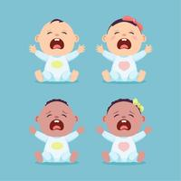 Set van zittende en huilende kleine blanke baby en zwarte baby, babyjongen en baby meisje vector