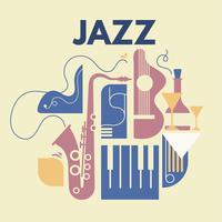 Abstracte jazzkunst en muziekinstrumenten vector