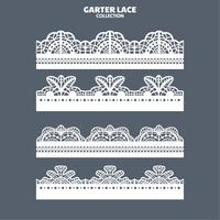 Decoratierand met kant met ribbel voor borduren, snijden en lasersnijden instellen vector