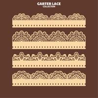 Stel kantpatroon met garter voor borduren en lasersnijden in vector