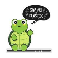 Schildpad zegt nee tegen plastic. Plastic vervuiling in het oceaanmilieuprobleem.