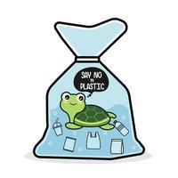 Schildpad in een plastic zak zegt nee tegen plastic. Pollution problem concept.