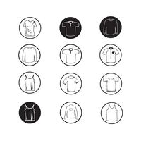 Set van kleding shirt en T-shirt pictogram kleding pictogrammen