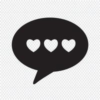 Hart toespraak bubble pictogram vector