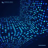 Abstracte blauwe technologie cirkel stippen patroon lijn van digitale achtergrond van de dekking. illustratie vector eps10