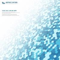 Abstracte blauwe kleine zeshoekige het ontwerpachtergrond van de patroontechnologie. U kunt gebruiken voor technologieontwerp, advertentie, poster, omslagillustratie.