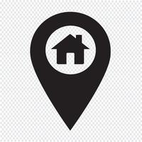 Kaart van aanwijzer huis pictogram vector
