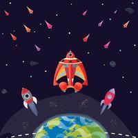 Cartoon sci fi ruimteachtergrond. Vector illustratie