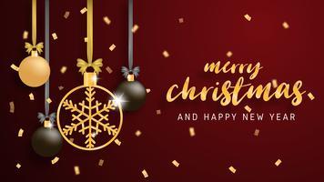Vrolijke Kerstmis en gelukkig Nieuwjaar wenskaart in papier knippen stijl achtergrond. Vector illustratie Kerstviering decoratie op rode achtergrond. banner, flyer, poster, achtergrond, sjabloon.