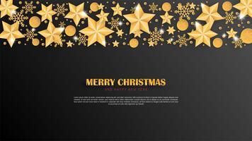 Vrolijke Kerstmis en gelukkig Nieuwjaar wenskaart in papier knippen stijl achtergrond. Vector illustratie Kerstviering met decoratie op zwart. banner, flyer, poster, achtergrond, sjabloon.