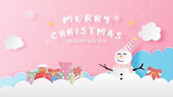 Vrolijke Kerstmis en gelukkig Nieuwjaar wenskaart in papier stijl knippen. Vectorillustratie Kerstmisvieringsachtergrond met Gelukkige sneeuwman en giftdoos. Banner, flyer, poster, achtergrond, sjabloon.