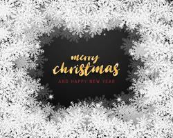 Vrolijke Kerstmis en gelukkig Nieuwjaar wenskaart in papier knippen stijl achtergrond. Vector illustratie Kerstviering sneeuwvlokken op zwarte achtergrond banner, flyer, poster, frame, sjabloon.