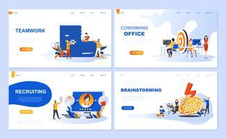 Set van bestemmingspagina-sjabloon voor teamwork, werving, brainstorming, coworking office. Moderne vector illustratie platte concepten ingericht mensen karakter voor website en mobiele website-ontwikkeling.