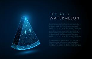 Abstract watermeloen segment. Ontwerp met lage polystijl. vector