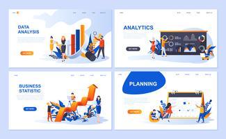 Set van sjabloon voor bestemmingspagina's voor gegevensanalyse, analyse, bedrijfsstatistiek, planning. Moderne vector illustratie platte concepten ingericht mensen karakter voor website en mobiele website-ontwikkeling.