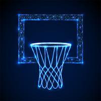 Basketbalmand, hoepel. Ontwerp met lage polystijl