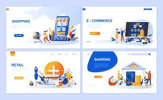 Set van bestemmingspagina-sjabloon voor online winkelen, e-commerce, detailhandel, internetbankieren. Moderne vector illustratie platte concepten ingericht mensen karakter voor website en mobiele website-ontwikkeling.