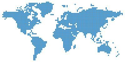 Blauw gekleurde vierkante gestippelde wereldkaart vector