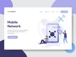 Bestemmingspaginasjabloon van het Mobiele Concept van de Netwerkillustratie. Modern plat ontwerpconcept webpaginaontwerp voor website en mobiele website Vector illustratie