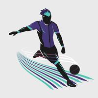 voetbalspeler schieten vector