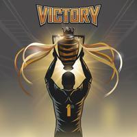 voetbalspeler overwinning trofee vector