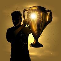 Man met trofee vector