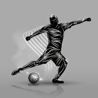 voetballer zwarte stijl vector