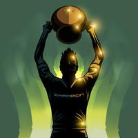 voetbalspeler en trofee vector