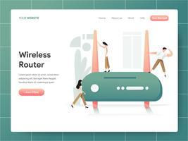 Draadloze router Illustratie Concept. Modern ontwerpconcept Web-paginaontwerp voor website en mobiele website Vector illustratie Eps 10