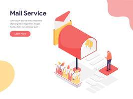 Mail Service Illustratie Concept. Isometrisch ontwerpconcept webpaginaontwerp voor website en mobiele website Vector illustratie